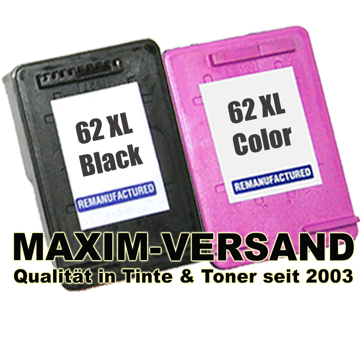 Patronen für HP 62 XL Black + HP 62 XL Color - kompatibel (2er Set)