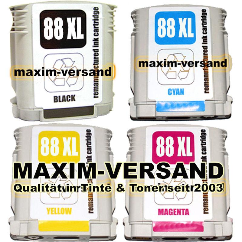 HP 88 Bk + 88 Ye + 88 Ma + 88 Cy - kompatibel (4er Set)