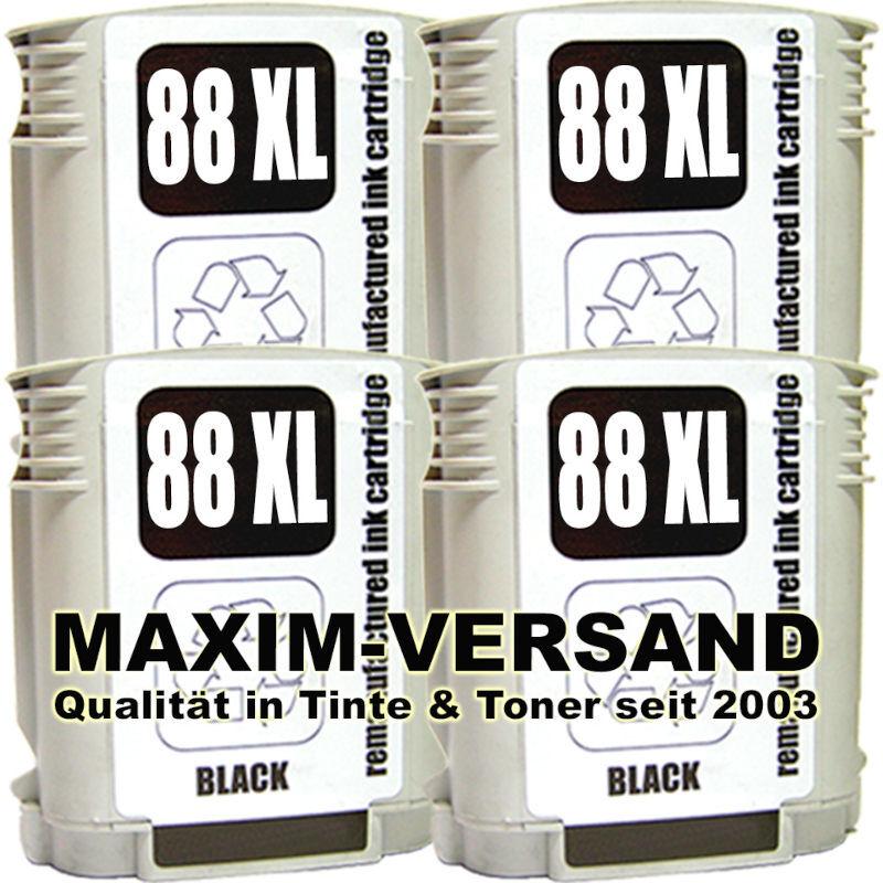Druckerpatronen Set ersetzt HP 88 XL schwarz / black x 4 - kompatibel