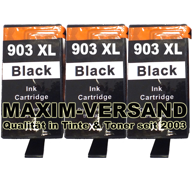 Patronen für HP 903 XL - T6M15AE - kompatibel - schwarz / black - (3er Pack)