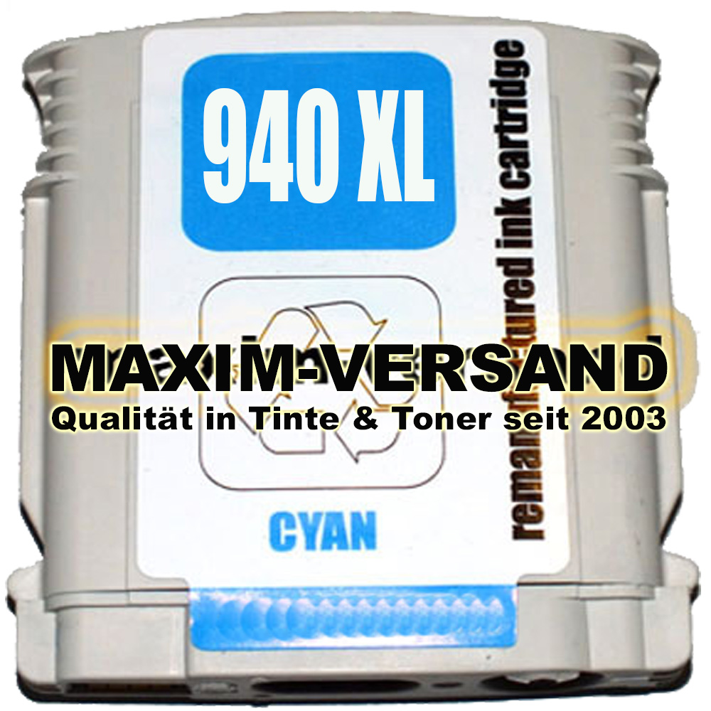 HP 940 XL - recycelt - blau / cyan (C4907AE) NEW-Chip (full)