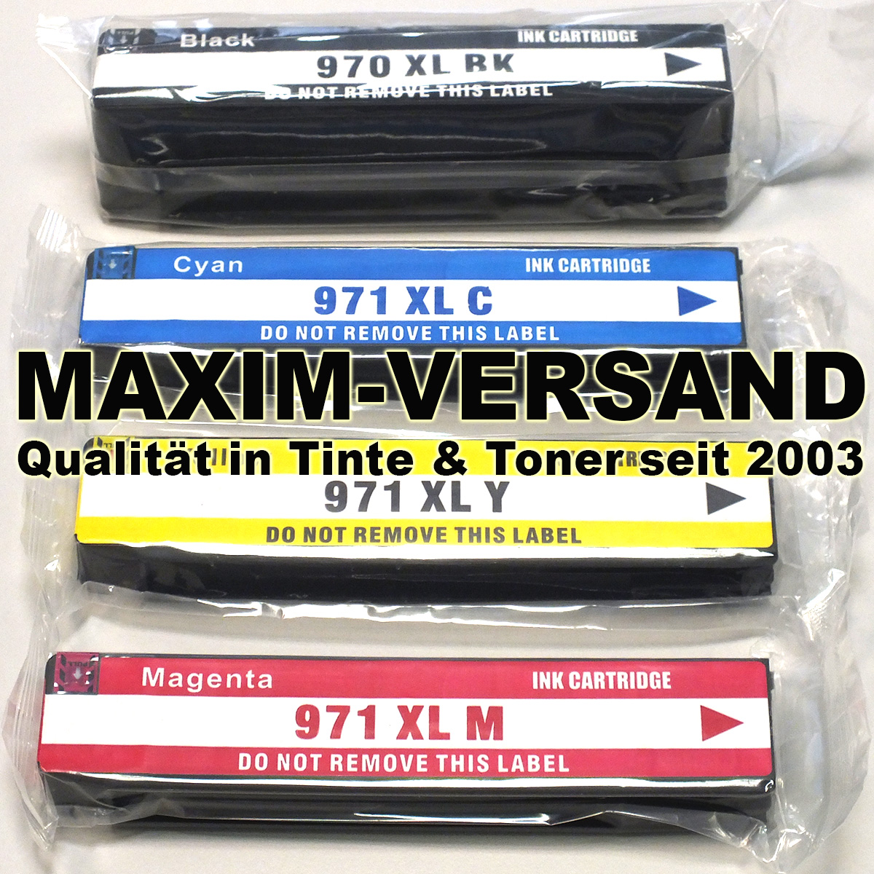 HP 970 XL + 971 XL: BK, C, Y, M - pigmentierte Tinte - kompatibel (4er-Set)