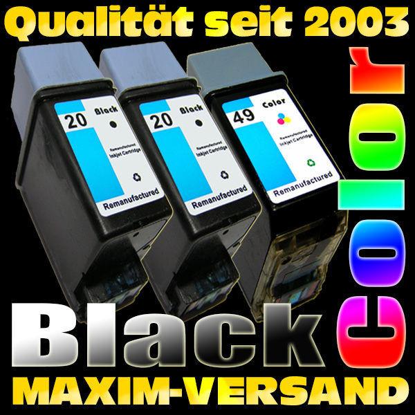 HP 20 Schwarzpatrone x 2 + HP 49 Farbpatrone - kompatibel - (3er Set)