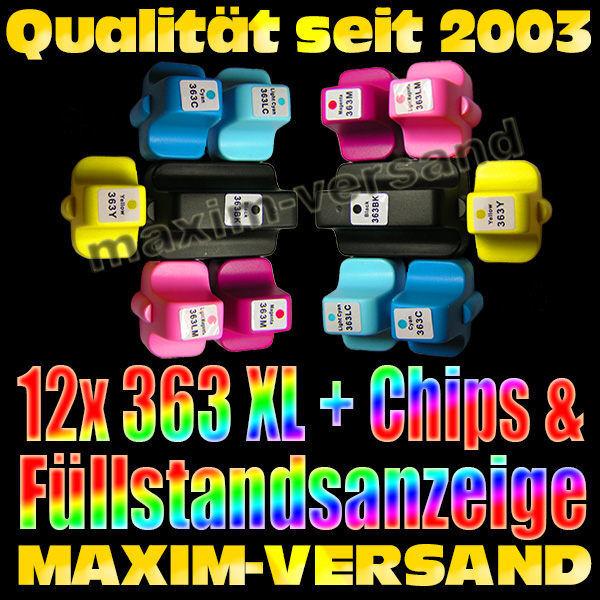 HP 363 XL BK + C + Y + M + LM + LC = alle Farben kompatibel (12er Set)