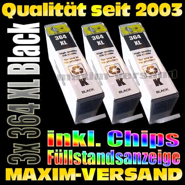 HP 364 XL schwarz / black - kompatibel - mit Chips x 3