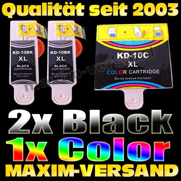 Druckerpatronen Set ersetzt Multipack Kodak 10BK x2 + 10C- kompatibel