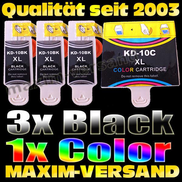 Multipack für Kodak 10BK Black  x 3 + 10C Color - kompatibel - (4er Set)