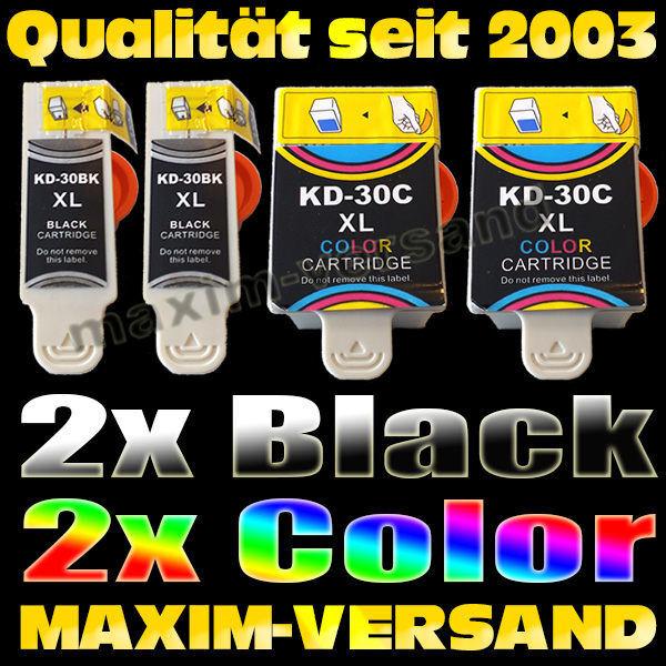 Multipack für Kodak 30 Black x2 + 30 Color x2- kompatibel - (4er Set)