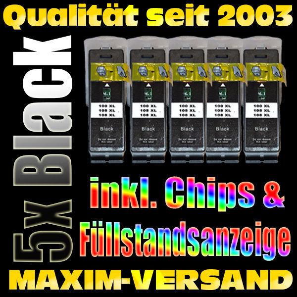 Set ersetzt Multipack Lexmark 100 XL Schwarz / Black kompatibel x 5