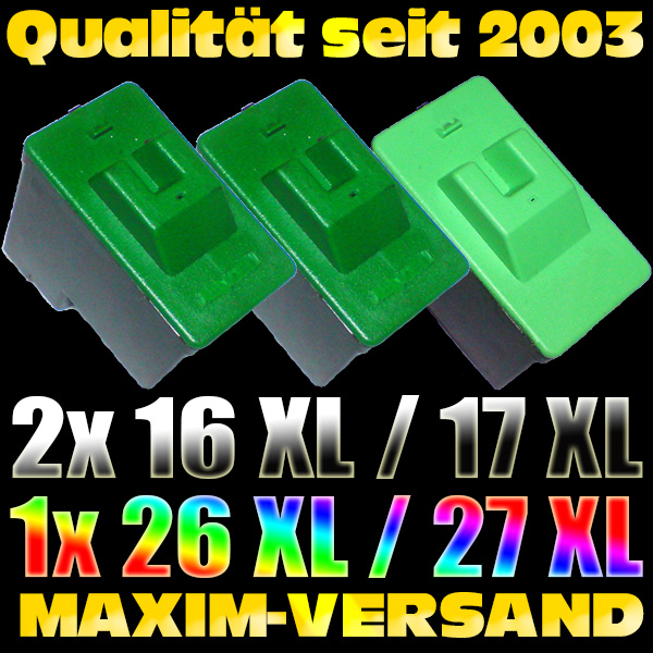 Lexmark 16 Schwarz x 2 +  Lexmark 26 Color - kompatibel - (3er Set)