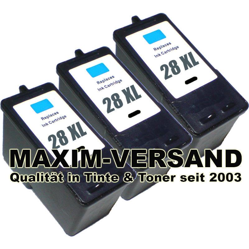 Lexmark 28 XL - schwarz / black - kompatibel x 3