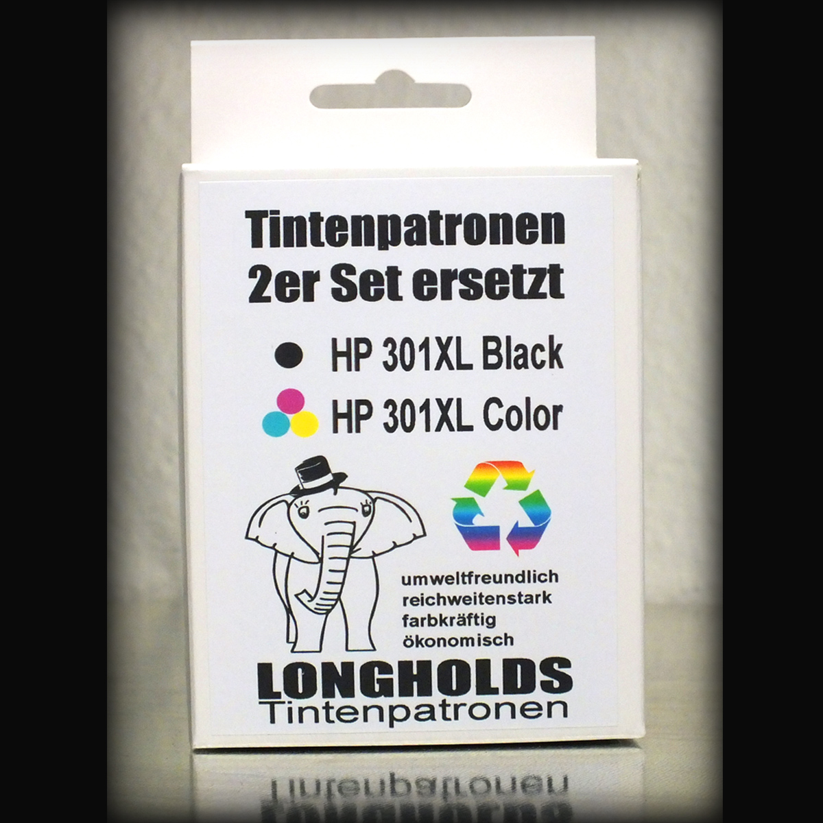Longholds Tintenpatronen Set kompatibel zu HP 301XL Black & HP 301XL Color