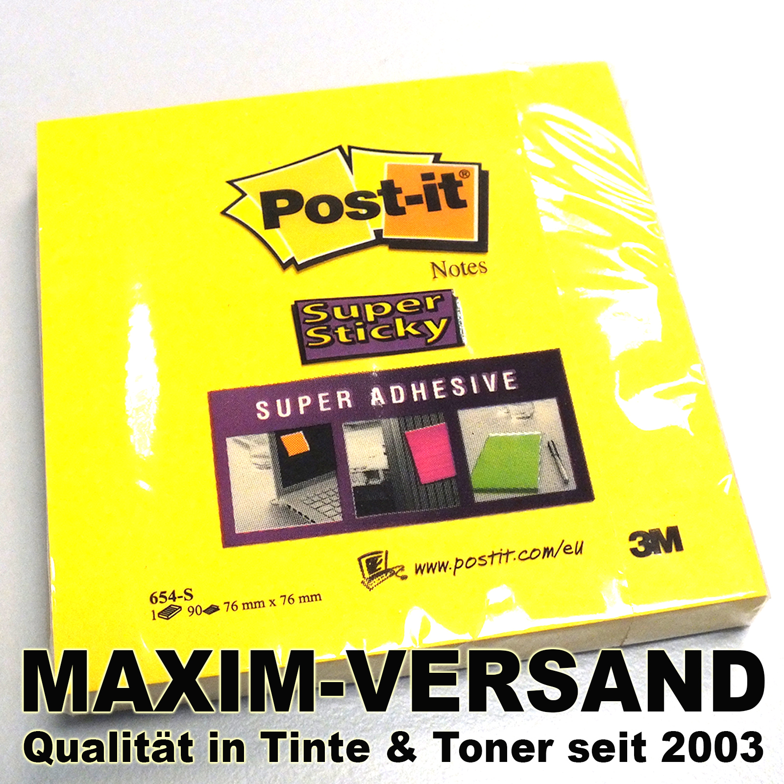 Office: Original Post-it super sticky extra stark 76x76 mm, narzissengelb
