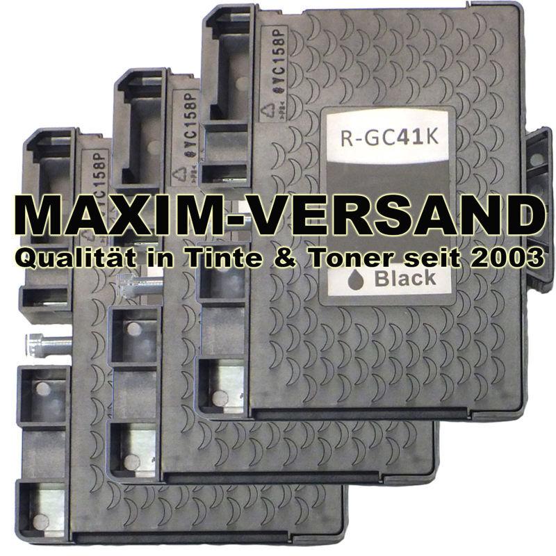 Multipack für Ricoh GC-41K - kompatibel - Gelpatrone - Schwarz / Black x 3