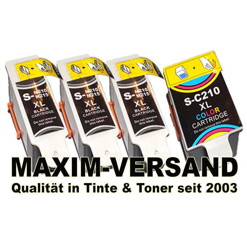 Samsung INK-M210 / M-215 Black x 3 + INK-C210 Color - kompatibel - (4er Set)