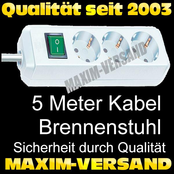 Office: Steckdosenleiste 3-fach, 5 Meter Kabel, Schalter, weiß von Brennenstuhl