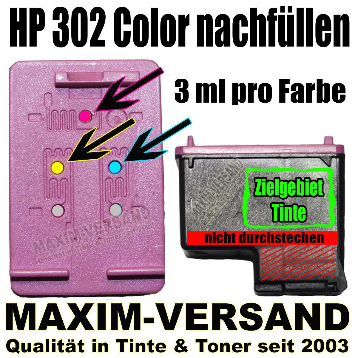 HP 302 Color nachfüllen