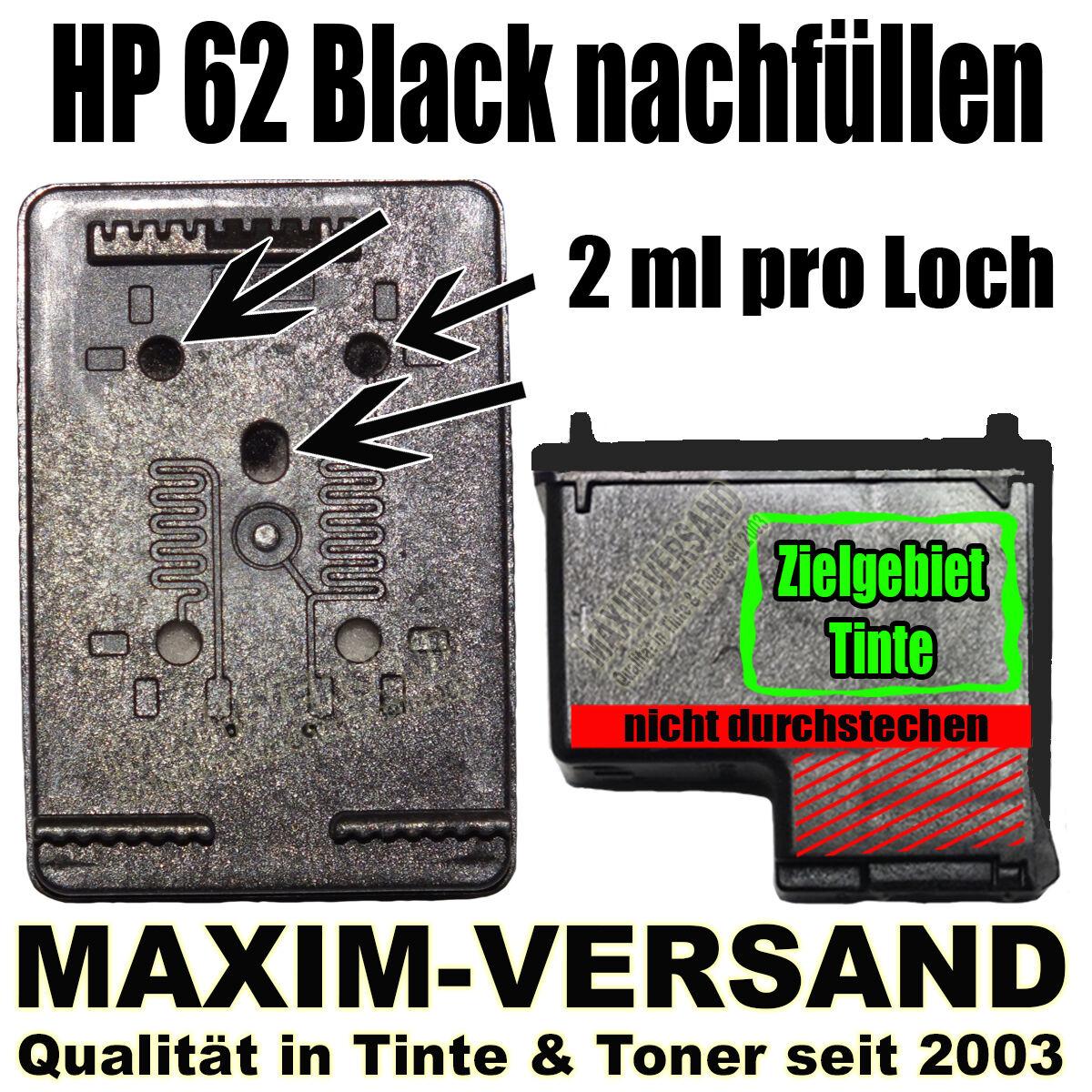 HP 62 Black nachfüllen