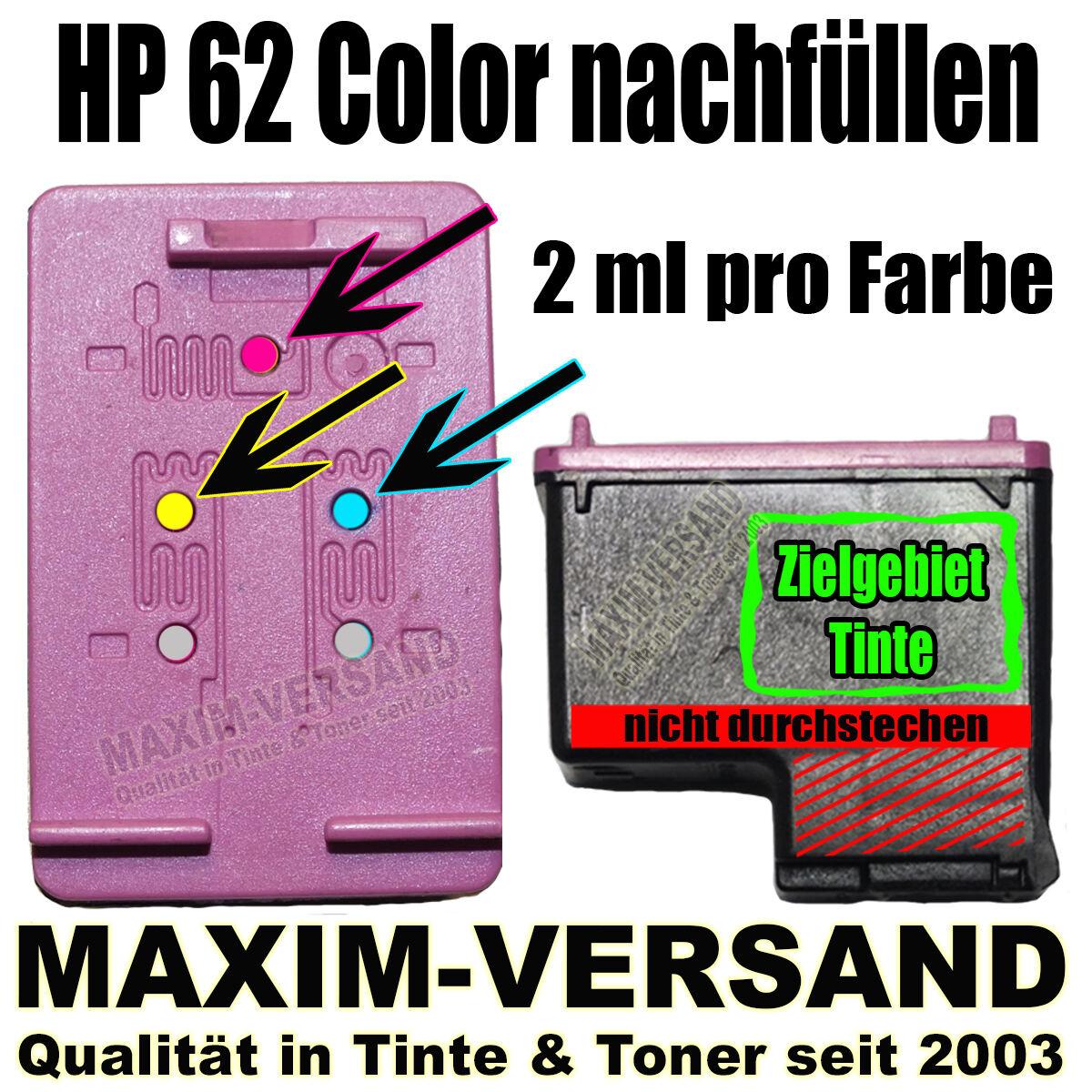 HP 62 Color nachfüllen