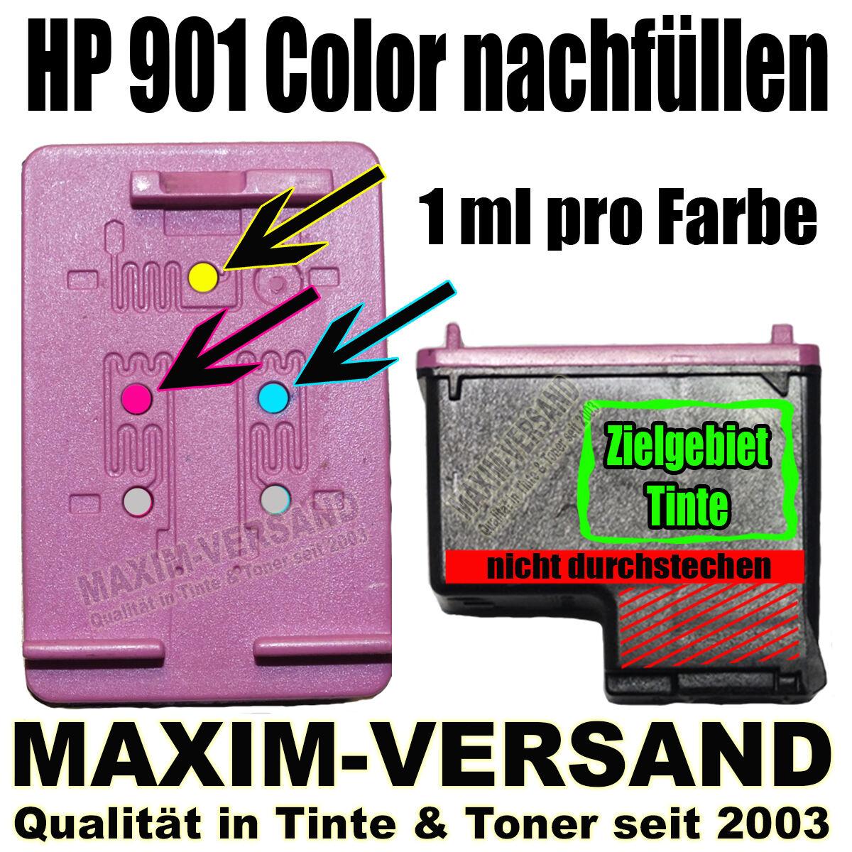 HP 901 Color nachfüllen
