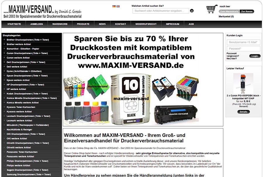 Screenshot vom neuen Online-Shop